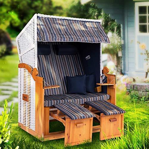 Strandkorb Ostsee XXL Volllieger 2 Sitzer - 120 cm breit - braun grau blau inklusive Schutzhülle, ideal für Garten und Terrasse