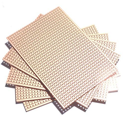 10 pz 5x7 cm fai da te prototipo di carta PCB esperimento universale circuito matrice 5x7 cm singolo lato rame PCB foro dia 1mm