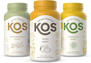 KOS Less-Stress Bundle (Organic Ashwagandha Capsules + Maca Root Capsules + Rhodiola Root Capsules)
