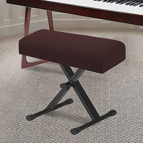 Stretch Piano Stool Cover Keyboard Bench Covers Non Slip with Thick Elastic Bottom Feature Checked Jacquard Pattern Super Thick Form Fitted The Length 20'-26' (Medium Size - Brown)