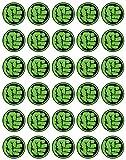 30 x Edible Cupcake Toppers – Hulk Hero Logo Party Collection of Edible Cake Decorations | Edible Wafer Sheet