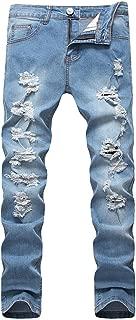 OKilr Pjik Men's Blue Slim Skinny Fit Distressed Ripped Elastic Tapered Leg Denim Jeans