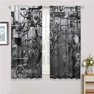 Jinguizi Industrial soundproof Curtain Modern Times Detail of Rusted Machine in Factory Physical Equipment Process Kids Curtains Black and White 63 x 72 inch