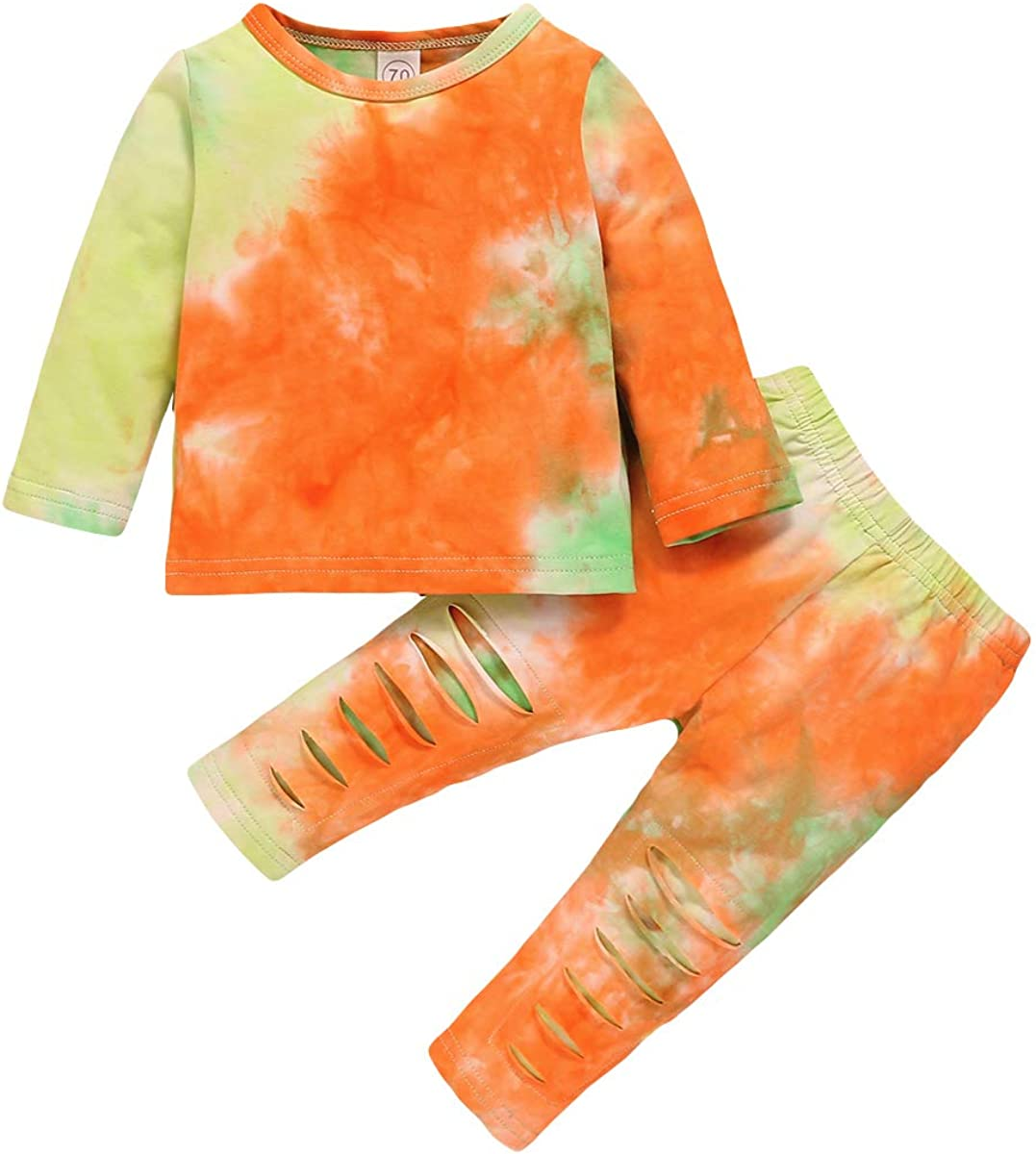 Toddler Baby Boy Girl Tie Dye Long Sleeve T-Shirt Tops+Pants Two Piece Ribbed Outfit Fall Winter Clothes