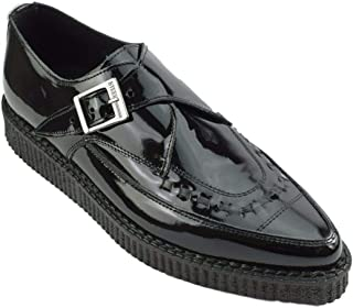 Zapatos de tierra de acero negro charol Creepers Monje hebilla puntiaguda Sc200Z175