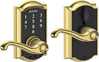 SCHLAGE Touch Camelot Lock with Flair Lever (Bright Brass) FE695 CAM 605 FLA