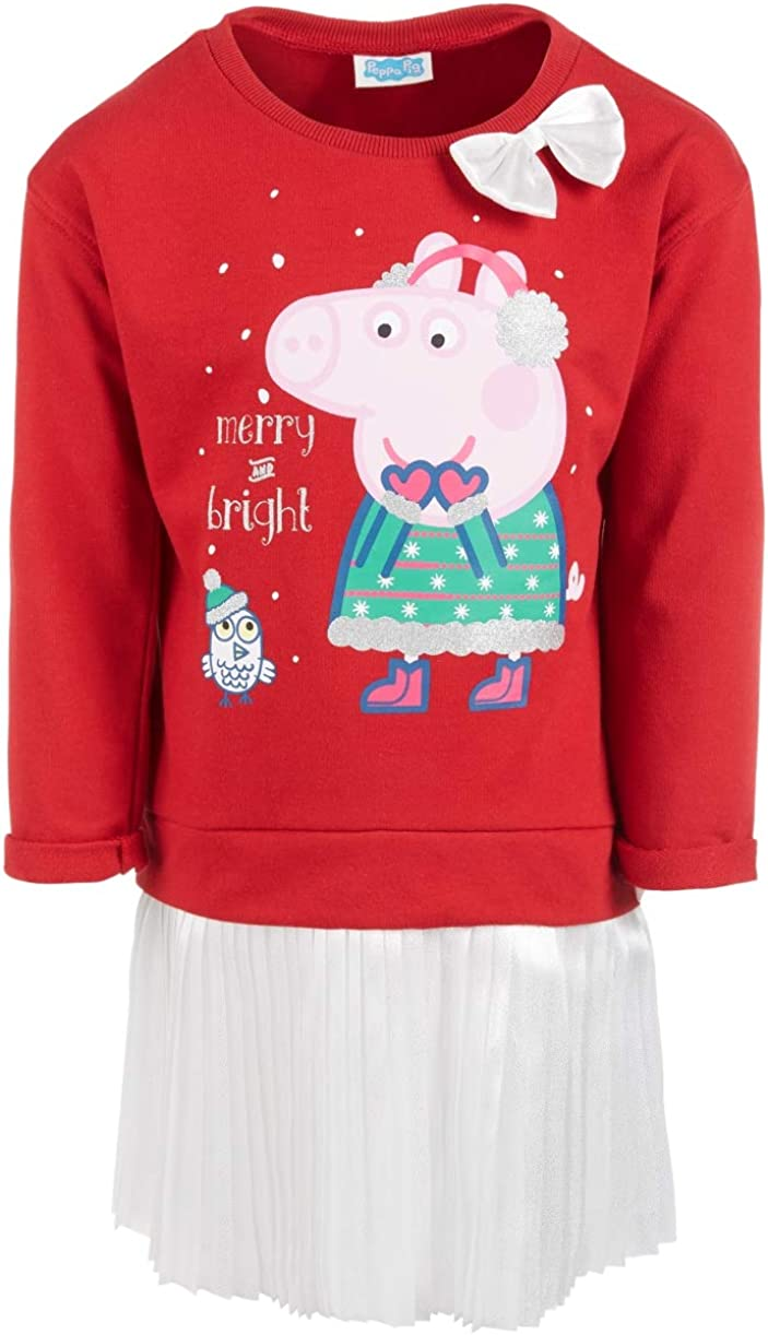 Peppa Pig Little Girls Layered-Look Holiday Tutu Dress, Red 6
