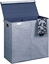 mDesign Extra Large Divided Laundry Hamper Basket with Removable Lid, Built-in Handles - Portable and Foldable for Compact...