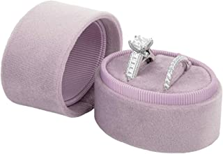 Koyal Wholesale Double Oval Velvet Ring Box, Vintage Wedding Ceremony Ring Box with Detachable Lid, 2 Piece Engagement Ring Box Holder, Proposal Idea, Slim Ring Box with Cushion (Lilac)