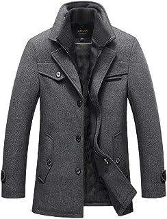 UJUNAOR Mens Coats Windproof Casual Winter Wool Jackets Regular Fit Trench Coat Tweed Outerwear Peacoats