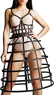 Woman Leather Harness Body Cage Dress with Detachable Short Skirt Belt Waist Black