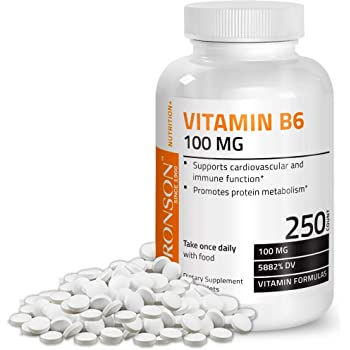 Vitamin B6 100 mg Premium Vitamin B6 Supplement – Promotes Protein Metabolism, Cardiovascular System and Immune Function - 250 Tablets