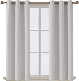 Deconovo Room Darkening Thermal Insulated Blackout Grommet Window Curtain Panel for Living Room, Greyish White, 42x63 Inch...