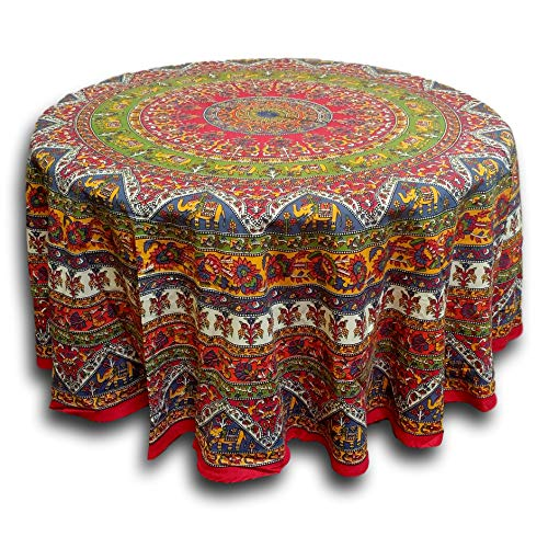India Arts Elephant Mandala Floral Print Red Tablecloth Round for Dining and Kitchen Cotton Table Linen Red Green Blue