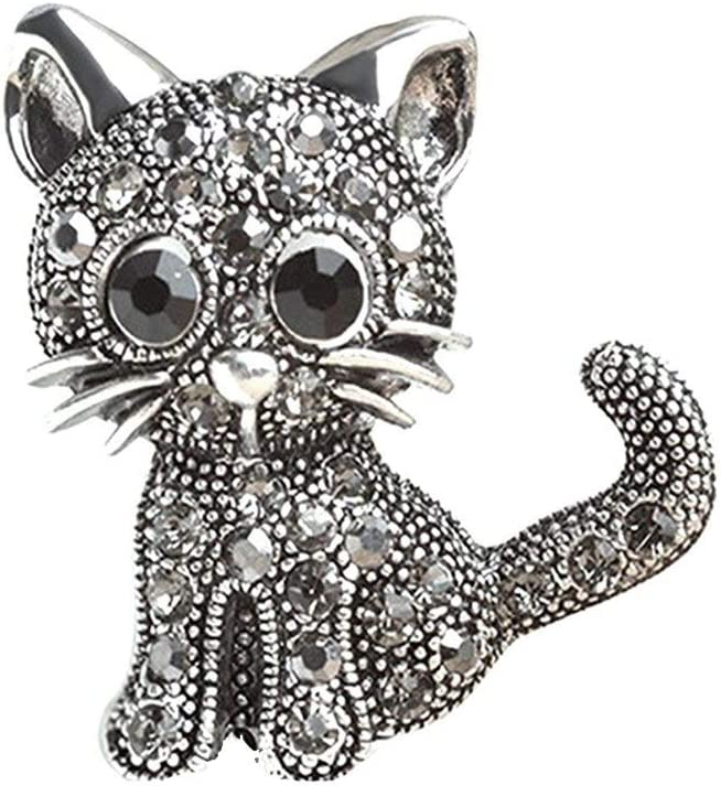 Women Vintage Cat Brooch Pins Alloy & Crystal Brooch Jewelry GiftsProfessional Processed