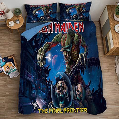 XKNSYMRL Funda Nordica 200X200, Iron Maiden Impresión Digital 3D Colcha Cama 80 Infantil, Upgrade Poliéster Microfibra Sleep Down Conjuntos De Ropa De Cama, para Niños Muchachos (220X240Cm)