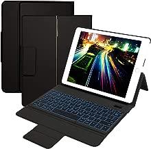 iPad Keyboard Case for New iPad 2(2011)/iPad 3(2012)/iPad 4(2012) - Eoso Rotatable Wireless Bluetooth iPad Keyboard with 7 Color Backlight (Black)