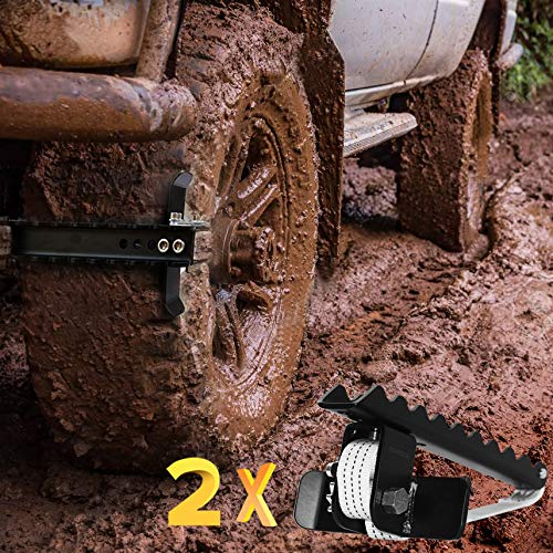 EZUNSTUCK Tire Anti-Skid Tool - RWD/AWD/4x4 SUV, Trucks, Pickup – EZ-D02ML Ultimate Get Unstuck Solution for Mud, Sand, Snow, Off-Road - Better Than Traction Mat, Recovery Tow Strap(Medium/Set of 2)