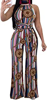 QIYUN.Z女性セクシーな背中の開いたプリントストライプファッションジャンプスーツレディースロングロンパースズボン