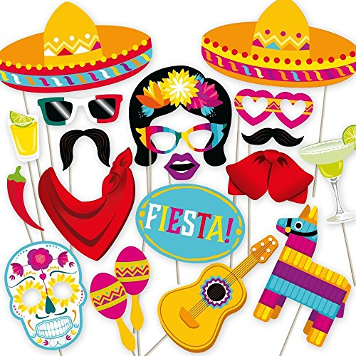 Fiesta Photo Booth Props by PartyGraphix. Perfect for Mexican Photo Booth Props Stand. Fiesta Party Supplies. Kit…