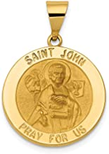 14k Yellow Gold Saint John Medal Pendant Charm Necklace Religious Patron St Fine Jewelry Gifts For Women For Her
