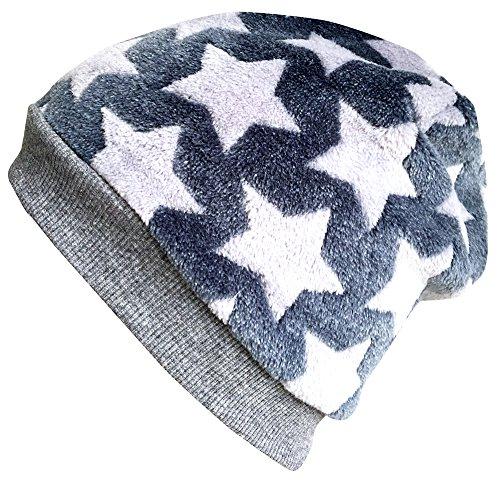Wollhuhn Warme kuschelige Beanie-Mütze Fluffy Rauchblau mit hellgrauen Sternen, Wellnessfleece, für Jungen und Mädchen, 20161126, Größe XS: KU 42/46 (ca 6 Mon. bis 2 Jahre)