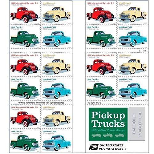 Pickup Trucks USPS Forever Stamp 1938 International Harvester D2 1948 Ford F1 1953 Chevrolet 1965 Ford F100 1 20 Stamps