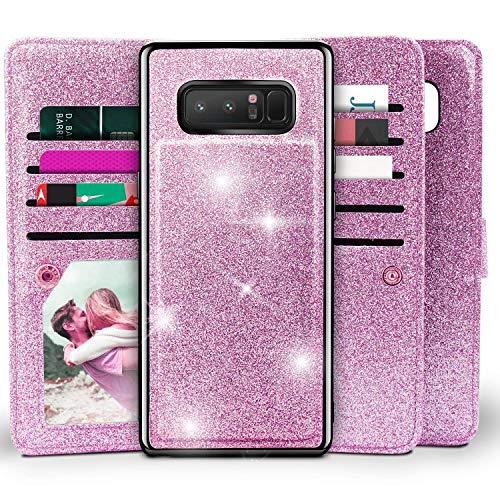 Galaxy Note 8 Wallet Case, Miss Arts Detachable Magnetic Slim Case with Car Mount Holder, 9 Card/Cash Slots, Magnet Clip, Wrist Strap, PU Leather Cover for Samsung Galaxy Note 8 -Purple