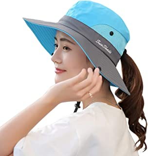 Muryobao Women's Outdoor UV Protection Foldable Mesh Wide Brim Beach Fishing Hat