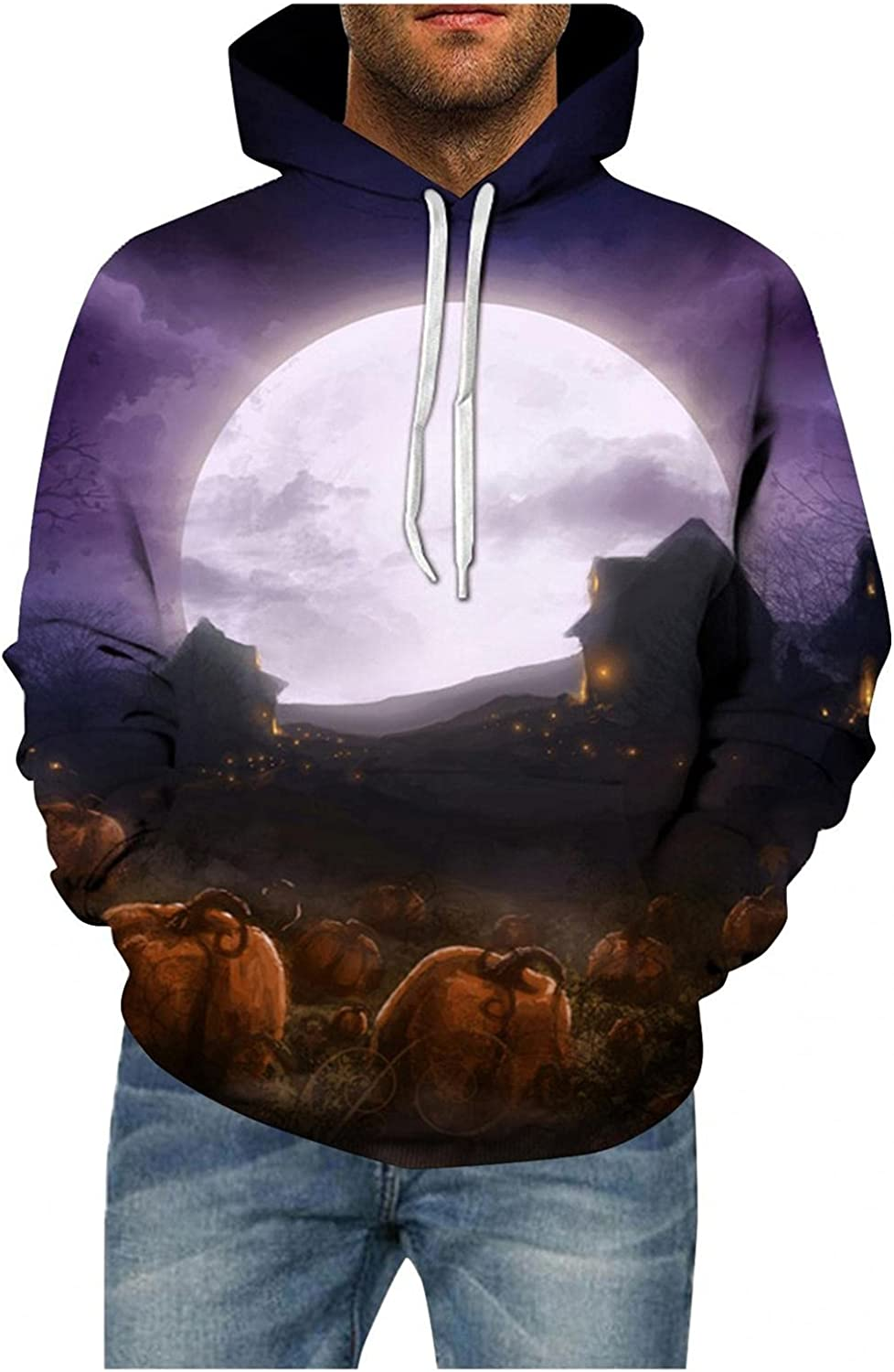 Aayomet Hoodies for Men Fashion Lightweight Pullover Hoodies Halloween Patterns Men and Women Hooded Tops T-Shirts