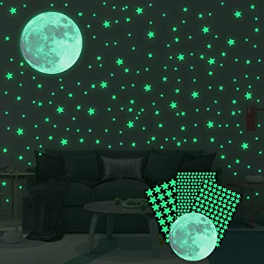 334pcs Glow in The Dark Stars Stickers, Luminous Stars and Moon Wall Stickers Decor for Kids Bedroom or Birthday Gift, Wall Decals for Any Room, Bright and Realistic
