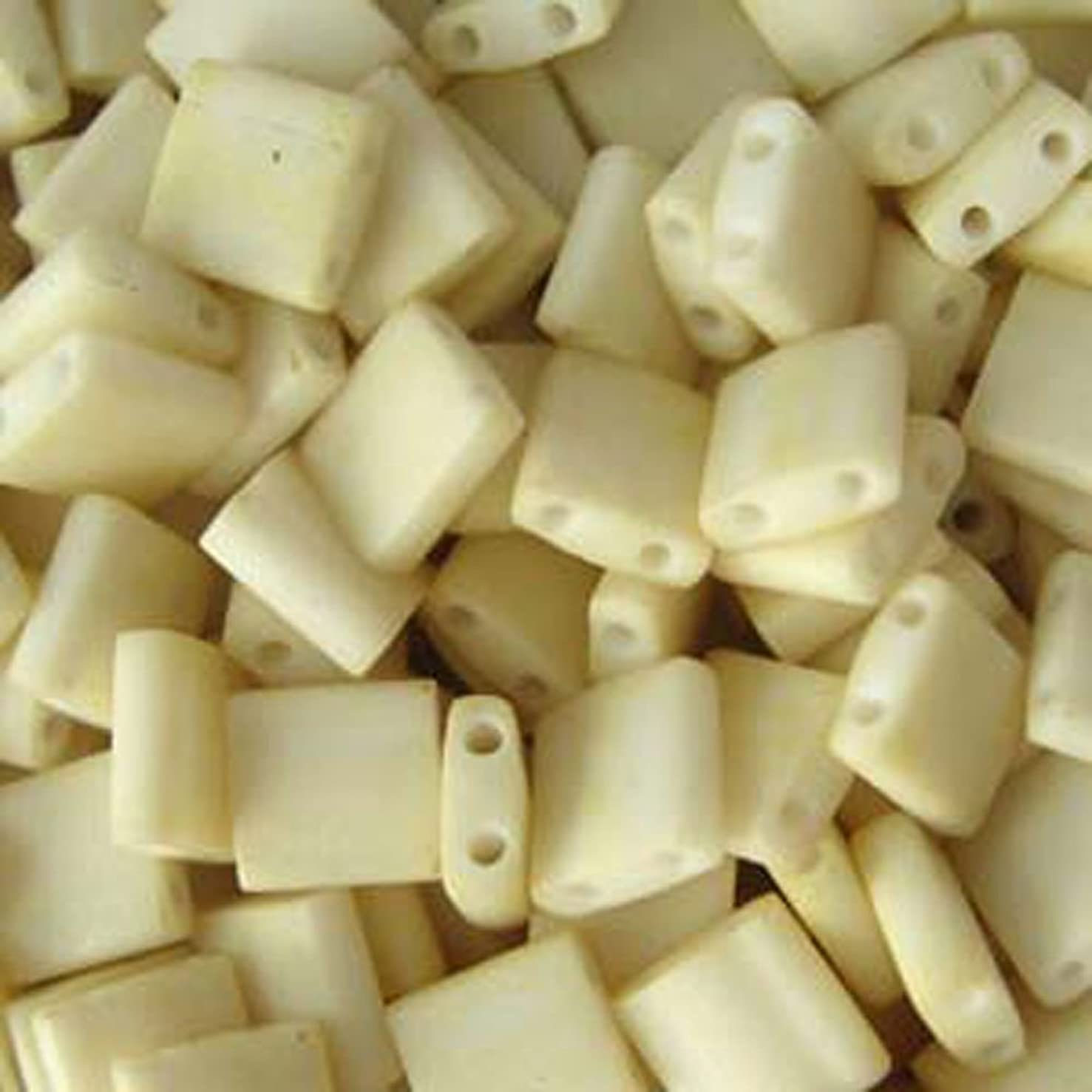 Cream Matte Tila Beads 7.2 Gram Tube By Miyuki Are a 2 Hole Flat Square Seed Bead 5x5mm 1.9mm Thick with .8mm Holes
