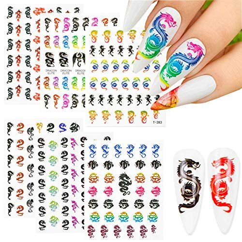 2020 Hot Dragon Snake Nail Art Decals 6 Sheet Self-adhesive Stickers Design Nail Foil 3D Luxury Chinese Style Sticker for Acrylic Nails DIY Colorful Chinese Dragon Nail Decals Fashion Nail Decorations