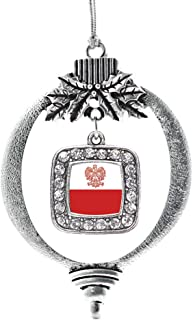 Inspired Silver - Polish Flag Charm Ornament - Silver Square Charm Holiday Ornaments with Cubic Zirconia Jewelry