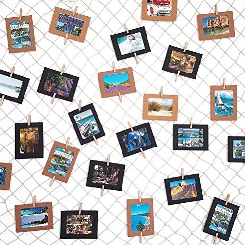 LeTOMA – Fotonetz 2x1m aus 100% Baumwolle ideal um Fotos aufzuhängen – 50 stabile Holzklammern (5cm lang), 20 dezente weiße Spezialhaken, 4 Saugnäpfe - Dekonetz, Fotoseil