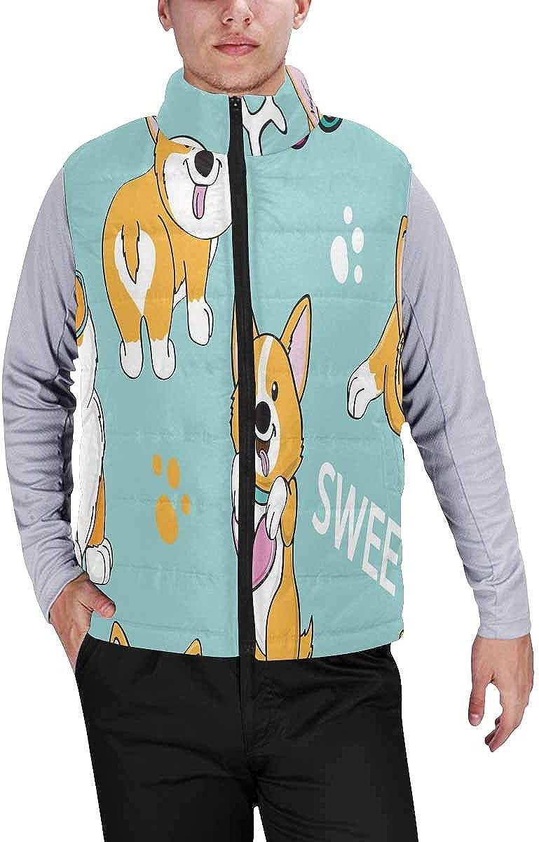 InterestPrint Warm Outdoor Sleeveless Stand Collar Vest for Men Cute Deer with Heart