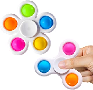 SCIONE Pop it Fidget Spinners 2 Pack,Simple Dimple Fidget Toy,Pop its Fidge Packs for Kids-Push Pop Bubble Sensory Toys for Adults,Fidget Pack with Pop it Hand Spinners Toys Stress Relief Reducer