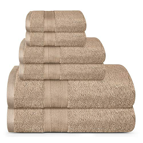 TRIDENT Soft and Plush, 100% Cotton, Highly Absorbent, Bathroom Towels, Super Soft, 6 Piece Towel Set (2 Bath Towels, 2 Hand Towels, 2 Washcloths), 500 GSM, Acorn