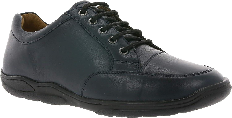Manz Plain Men's Genuine Leather Loafers Dark bluee