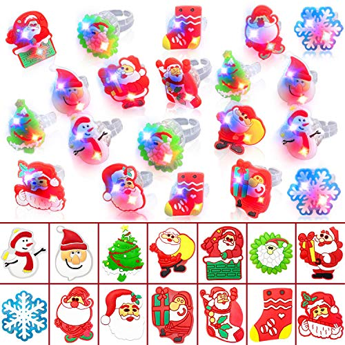 TURNMEON 50Pack LED Light Up Ring Christmas Party Favors for Kids Flashing Glow in The Dark Funny Christmas Party Supplies Toy Gift Boys Girls Christmas Stocking Stuffers Decorations