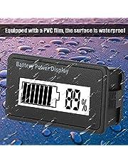 Garsent Digitale batterijtester met 12 - 48 V LCD-capaciteitsmeter, universeel batterijweergave, waterdicht, voltmeter