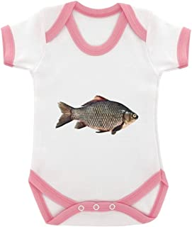 Carp Image Baby Bodysuit White with Pink Trim