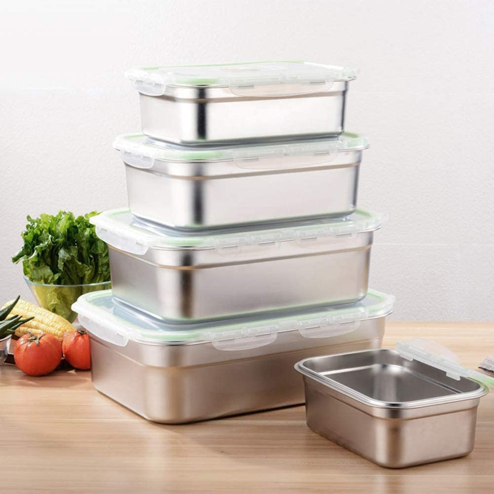 quanjucheer 3-12L Rectangular Stainless Steel Fresh-Keeping Box Refrigerator Storage Sealed Box Square Large Capacity Leak-Proof Bento Box Stainless Steel Lunch Box Silver 3L