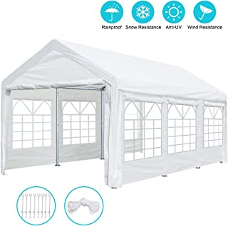 ADVANCE OUTDOOR 10 x 20 ft Heavy Duty Carport Canopy Car Garage Shelter Party Tent with Removable Window Sidewalls and Doors