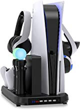 Multi-Function Charging Stand with Cooling Fan for PS5 Digital Edition/Ultra HD Controller, Vertical Charger Cooling Stora...