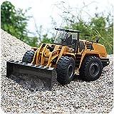 XIAOKUKU Gran camión de aleación eléctrica controlada con Control Remoto, Cargador Frontal Funcional Completo de 6 Canales, Control de Control Remoto RC Tractor de Excavadora