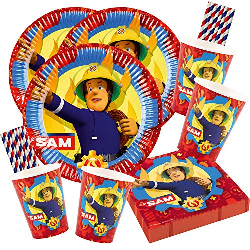 Amscan/hobbyfun 68-teiliges Party-Set Feuerwehrmann Sam - Teller Becher Servietten Papiertrinkhalme für 16 Kinder