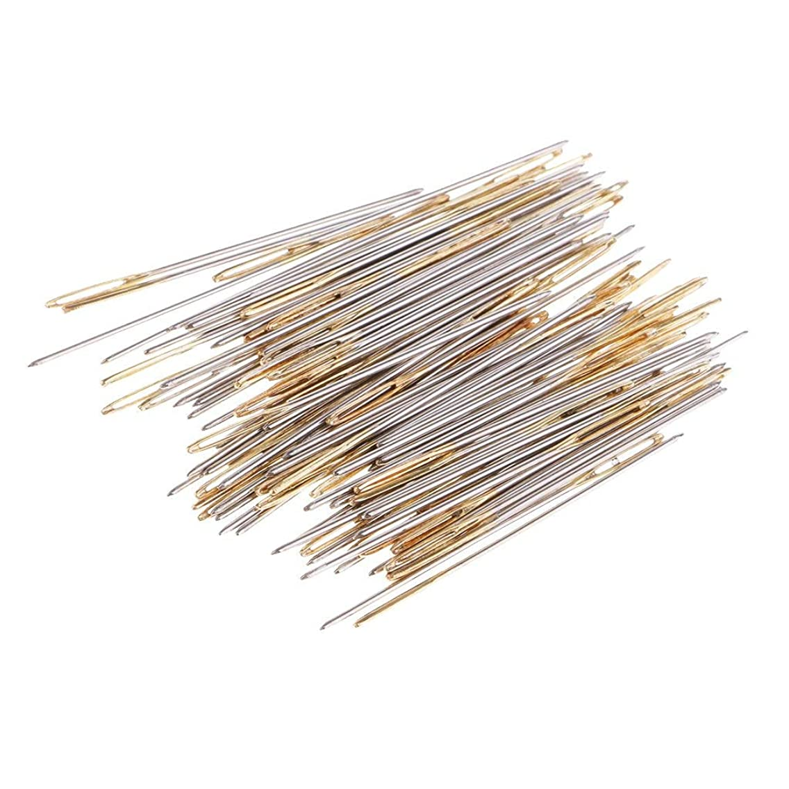 100 Pieces Mixed Silver Gold Cross Stitch Needles Large Eye Embroidery DIY Embroidery in Transparent Box (26#)