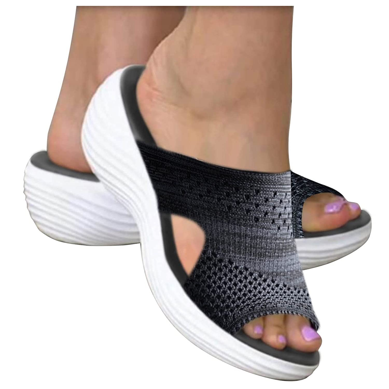 Padaleks Slip On Breathe Mesh Walking Shoes Women Fashion Sneakers Comfort Wedge Platform Loafers Beach Slippers
