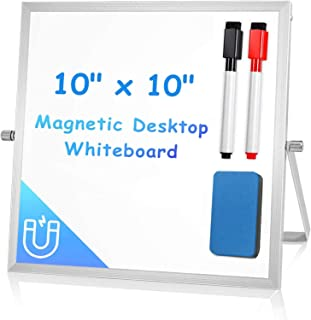 """Desktop White Board Easel 10"""" X 10"""", Arcobis Magnetic Double Sided Portable Mini Dry Erase Board for Kids Office Door Home..."""